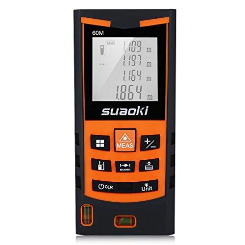 Suaoki S9 Télémètre Laser Numérique Precision et Anti-Poussière avec LCD Rétro-éclairage, Laser Mesure Distance Surface Volume, Ecart 2mm Maximum et Notice en Francais(60M)