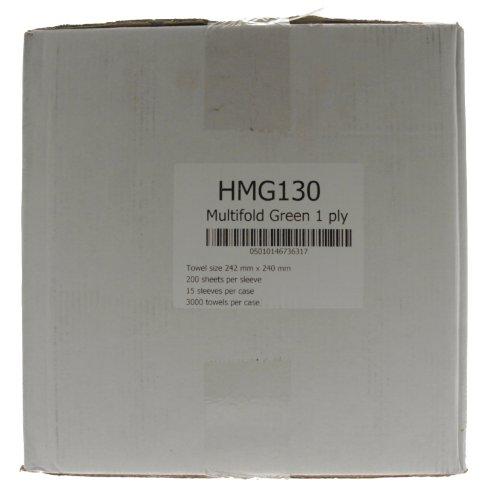 The Tool Connection Ltd. Connect Hygiene HMG130 Papierhandtücher, mehrfach gefaltet, einlagig, Grün, 3000 Stück