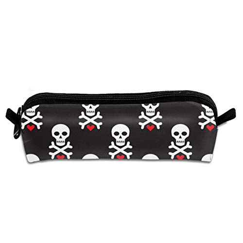 (Skull And Red Heart Pencil Pouch Bag Stationery Pen Case Makeup Box with Zipper Closure 21 X 5.5 X 5 cm)