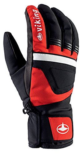 Viking Handschuhe Winter Skihandschuhe Racing Herren - mit Leder - atmungsaktiv - mit HYPERLOFT Gewebe - Hurricane, 34 rot/schwarz, 10