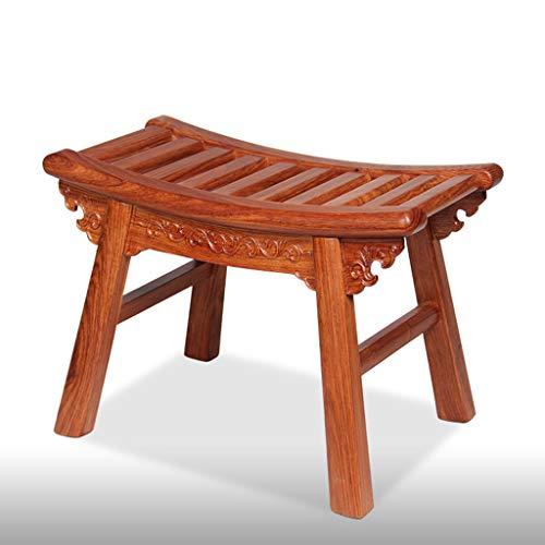 Mahagoni Antike Geschnitzte Holzbank Igel lila Schuhe Bank Couchtisch Hocker Sofa Hocker (Color : Brown, Size : 39 * 21 * 28CM) -