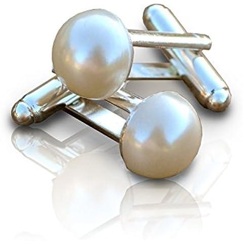 Gemelos para mujer y hombre, con perlas sintéticas