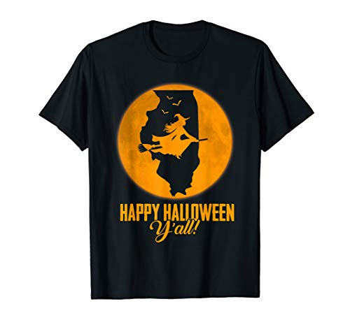 Happy Halloween Y'all Illinois Witch Map T-shirt (Y All Happy Halloween,)