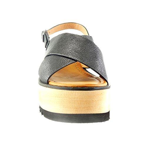 Cm 6 Piattaforma Del Angkorly Pattino Tallone Nero Sandalo Della Compensato Di Donna Cinghia Aperto 5 Di Modo Della a6Rqa48w
