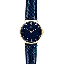 Andreas Osten Ladies Womens Gold Bezel Blue Leather Wrist Watch A0-186