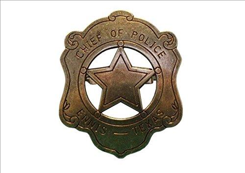 US Polizeichef Abzeichen Badge messingf. Sheriff Cowboy ()