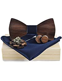 Liyao Men's Wooden Classic Bow Tie Set Bow Tie Brooch Scarf and Cufflink Design Set