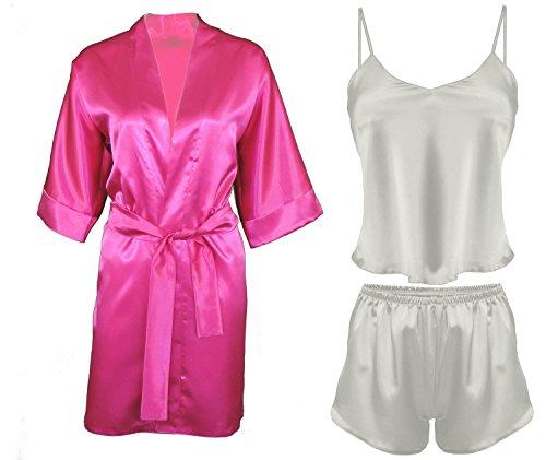DKaren-Nachtwäsche Damen Wäsche-Set aus Satin Karen / Morgenmantel aus Satin 90 (XS-2XL) Pink/Hellecru