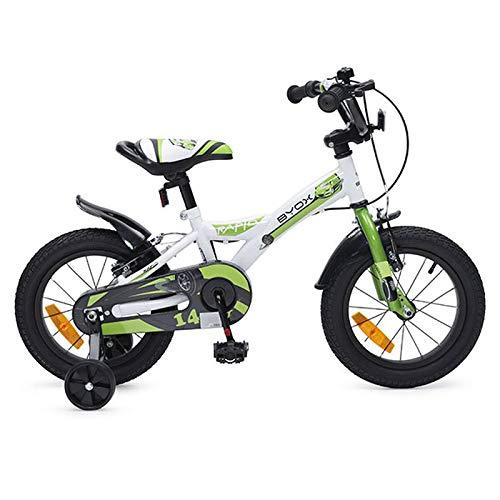 Moni Trade Ltd. Byox Kinderfahrrad 14 Zoll Rapid grün, Stützräder, Sattel einstellbar