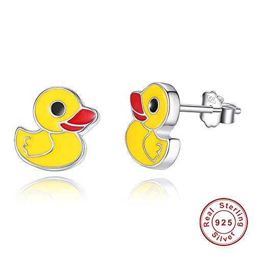 tecker Ohrhänger 925 Sterling Silber Gelb Emaille Nette Ohrring Tier Ente Ohrstecker Für Frauen Kid Girl ()