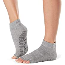 Toesox Half Toe Ankle Calcetines de Yoga, Unisex Adulto, Gris (Heather Grey)