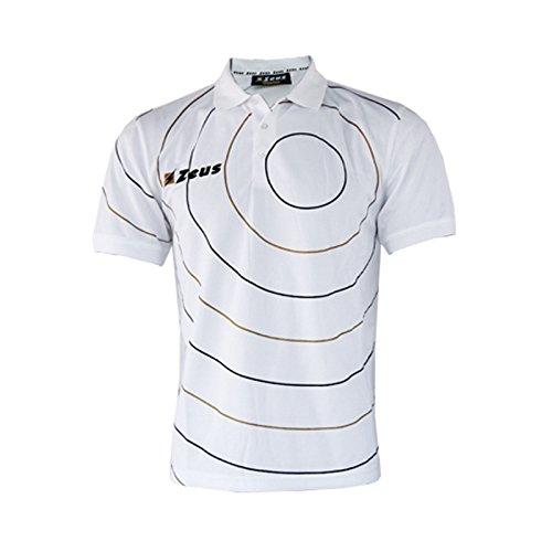 Zeus Herren Polo Shirt Training Fußball Fitness Sport POLO ORBIT WEISS SCHWARZ GOLD (XXL)