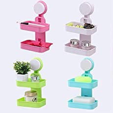 Emndr Double Layer Soap Box Suction Cup Holder Rack Bathroom Shower Soap Dish Hanging Tray Wall Holder Storage Holders