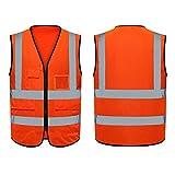 Warnweste, Yuccer Hohe Sichtbarkeit Weste Reflektierend mit Reißverschluss und Taschen für Erwachsene (Orange)