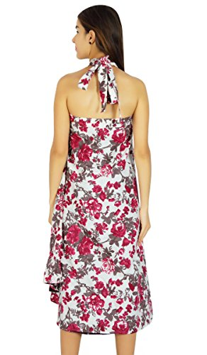 Amoghah Langer Rockbaumwollblumenmuster Saronghippie-Reversible Verpackung Weiß Und Pink