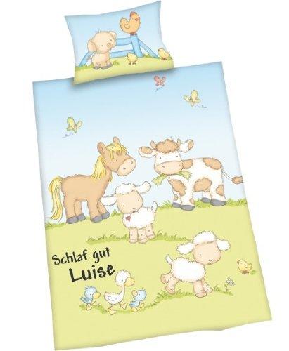 Wolimbo Kinder Bettwäsche 100x135cm mit Ihrem Wunsch-Namen - Die individuelle Babybettwäsche mit süssem Bauernhof Motiv (Kinder Personalisierte Artikel)