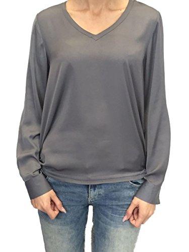 Milano Italy Damen Bluse Shirt grau langarm Grau