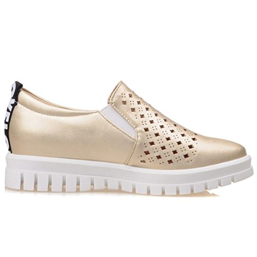 Flatform Exterior Sapatos Coolcept Ouro Bombas Respirável Moda Mulheres Bequeme qOEXw6