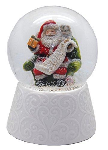 20089 Nostalgie globe de neige avec base en porcelaine blanche Santa avec boîte cadeau Boîte à musique 10cm de diamètre