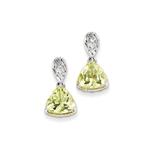 Sterlingsilber-Gold-Platte Accent Lemon Quarz-Ohrringe JewelryWeb Accent Platte