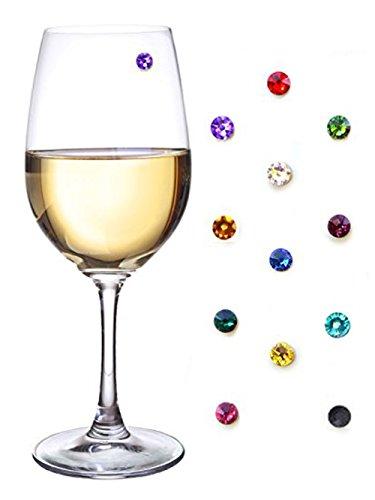howhome Kristall Magnetische Wein Glas Charms, Wein Glas Marker, Drink Marker für Wein, Champagner, Bier und Cocktail Gläser–(Geschenk-Box im Lieferumfang enthalten) 12Stück (Wein Glas Marker Set Mit 12)