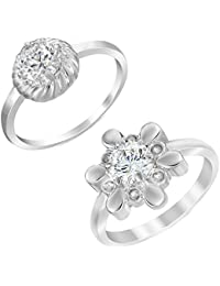 Mahi Rhodium Plated Combo Of Two Finger Rings With Swarovski Zirconia For Women CO1104622R