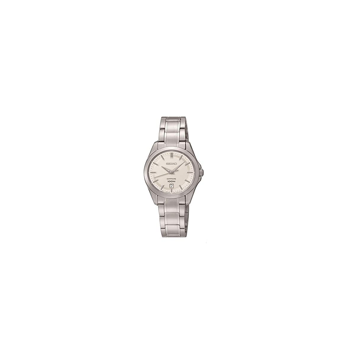 41liTEYnYoL. SS1200  - Seiko Damenuhren SXDF55P1 - Reloj analógico de Cuarzo para Mujer, Correa de Acero Inoxidable Color Plateado