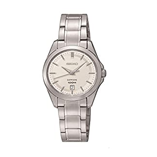 Seiko Damenuhren SXDF55P1 – Reloj analógico de Cuarzo para Mujer, Correa de Acero Inoxidable Color Plateado