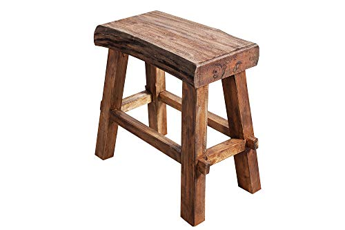 DuNord Design Sitzhocker Key West 40cm Natur Recyclingholz Massivholz Holzhocker Hocker -