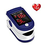 Fingertip Pulse Oximeter Heart Rate Monitor Blood Oxygen Saturation SpO2 Sensor LED Display with Carrying bag,Landyard & Battery(Blue)
