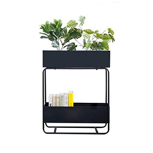 WENYAO Eisen Blumenständer Zweistufiger Boden Topf Rack Partition Dekorative Regal Einfache Balkon Locker Rack (Farbe: SCHWARZ)
