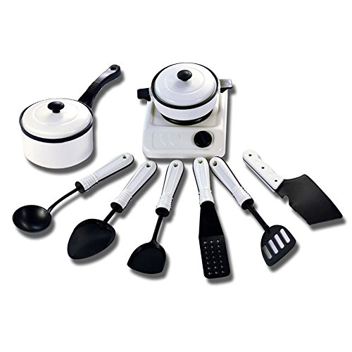 9/11/12/13PC Childrens' Pretend Toys, GreatestAPK 1 Set Educational Kitchen House Pots Pans Cookware Miniature White Toy Gift For Kid Pretend Play (9pcs)