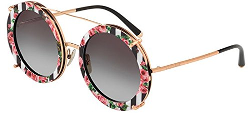 Ray-ban 0dg2198 occhiali da sole, nero (pink gold/black print rose), 63 donna
