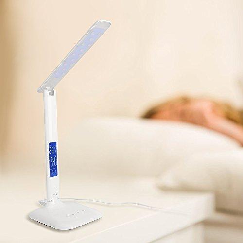 LED Schreibtischlampe 8W, Schreibtischlampe LED Schreibtischlampe Augenschutz Schreibtischlampe Berührungsschalter drehbares Dimmen Farbanpassung 3 Arten von Lichtquellenmodus energiesparend Multifunktionsfunktion mit digitaler Anzeige (Uhrtemperatur und Kalender)