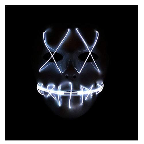 Zhen+ Halloween Masken Festival Party Cosplay Maske LED Leuchten Maske Karneval Maske Halloween Accessoires Grimasse Maske für Festival Party Cosplay in der Dunkelheit (Weiß) (Lights Draht Christmas Klar, Grüne)