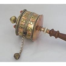 Bouddhiste tibétain Prayer Wheel - laiton et cuivre avec des perles incrustées , manche en bois et à base de cuivre ; longueur 28cms ensemble ; Tambour diamètre de la roue 7.5cms - vendus par One World is Enough . Généralement expédié le prochain jour ouvrable - Fair Trade