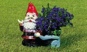 Pflanz-Zwerg mit Karre 24 cm 1670 bepflanzbare Figur aus Kunststoff