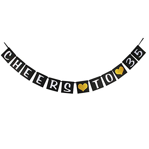 waway Cheers zu 35Geburtstag Banner Gold Glitzer Herz für 35. Jahrestag 35Jahre Alt Geburtstag Party Dekoration Supplies Schwarz (35)
