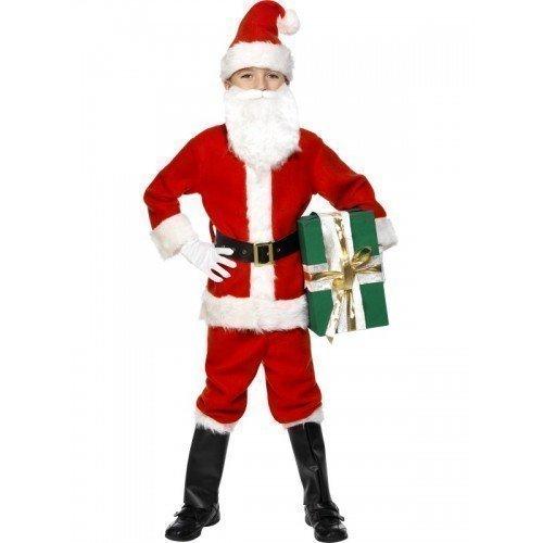 Deluxe Anzug Kostüm Weihnachtsmann - Fancy Me Jungen 7 Stück Deluxe Weihnachtsmann Weihnachtsmann Anzug Verkleidung Kleid Kostüm Outfit+Bart - Rot, 7-9 Years