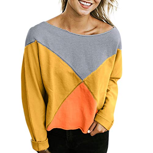Beginfu Frauen Mode trägerlos Langarm Patchwork T-Shirt Bluse Pullover Sweatshirt Langarm Pullover...