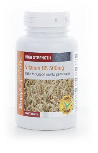 Vitamine B5 500mg | Réduit la sensation de fatigue et d'épuisement | 180 Comprimés | Simply Supplements