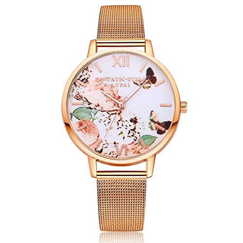 Dilwe Armbanduhr Quarz Bewegungs Uhr Maschen Bügel Runde Vorwahlknopf Anzeigen Uhr Dame mit Blumen Muster Dekoration für zufällige Geschäfts Gelegenheits Abnutzung(Roségold) -
