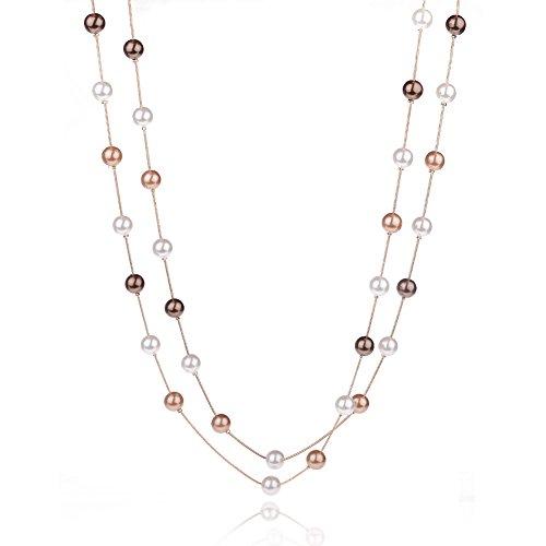 Yantu-Donna Fashion maglione semplice con perline perle di vetro-Collana con ciondolo a forma di ciondolo collana lunga multi strato 234yard collana multifilo, Lega, colore: 3 color beads, cod. HQE201