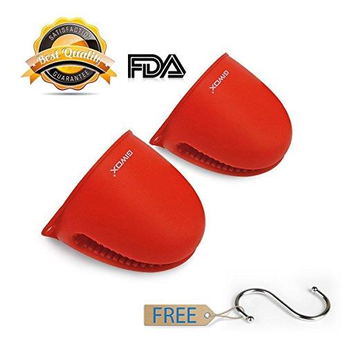 Giwox hitzebeständige Silikon-Handschuhe, wasserdichte und rutschfeste Griffe für die Küche (Rot)