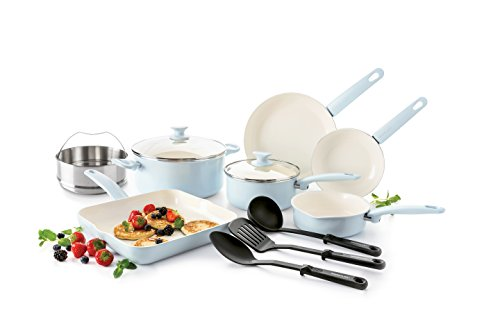 GreenLife Cambridge 12pc Ceramic Non-Stick Cookware Set, Light Blue