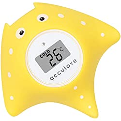 Thermomètre de bain et de chambre Acculove pour bébé,thermometre bain, thermomètre de bain flottant pour baignoire et piscine, dessin de poisson jaune Outlook, jouet sûr pour bébés, nouveau-nés