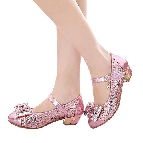 Meijunter Enfants Kids Filles Paillettes Bowknot Pointu Shallow Mouth Princesse Chaussures pink