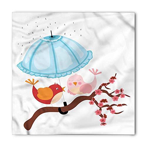 TKMSH Birds Bandana, Tree Branch Raining Umbrella, Unisex Head and Neck Tie,Unisex Bandana Head and Neck Tie Neckerchief Headdress Silk-Like 100% Polyester -M (Damen Ohio State Hat)
