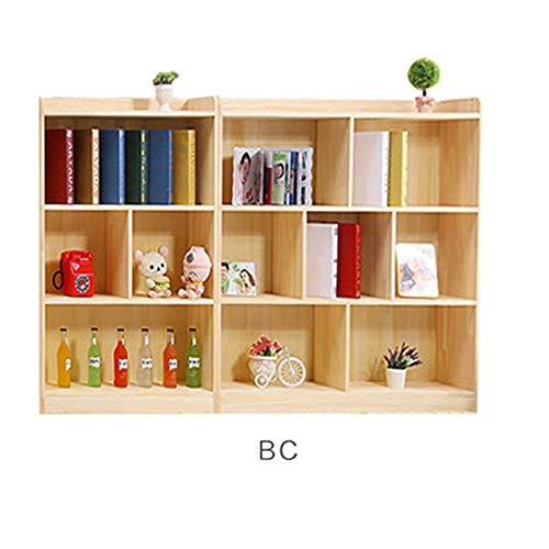 ssok shelf Holz Bücherregal Bücherrega, Pine Bücher Regal Freie Kombination Multi-Layer Lagerung-Buch-kabinett Veranstalter Kinder-BC 200x24x100cm(79x9x39inch)