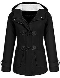 389cb04ddac2 Soteer Damen Mantel Dufflecoat Kurzmantel mit Kapuze und Reißverschluss